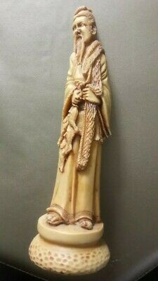 Vintage Chinese Fisherman Carved Resin Figurine