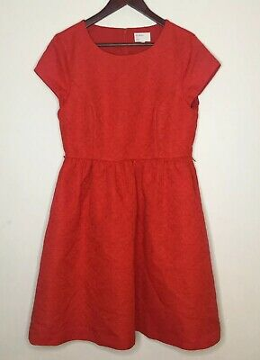 Hi There From Karen Walker Fit and Flare Red Floral Midi Length Dress Size 14