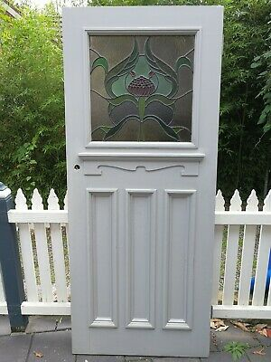 Federation 4 Panel Front Door with an art nouveau floral leadlight design