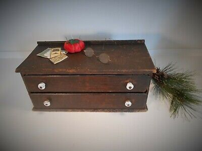 BEST 19th c Walnut 2 Drawer Sewing Needles Country Store Display Cabinet Box  AA