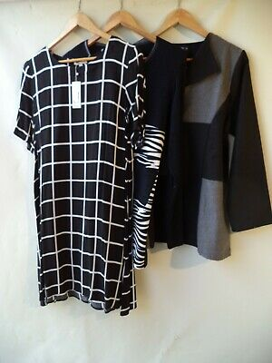Bulk lot of 3 items women's clothing tops dress mixed all size 14 black white