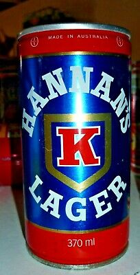 Collectable beer cans: Hannan's Lager crimp steel 370ml beer can