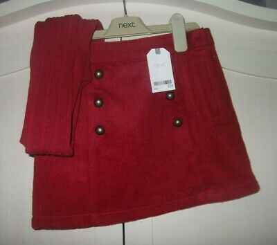 girls next red skirt with cable tights new tagged cost £24 9 years fits 8 - 9