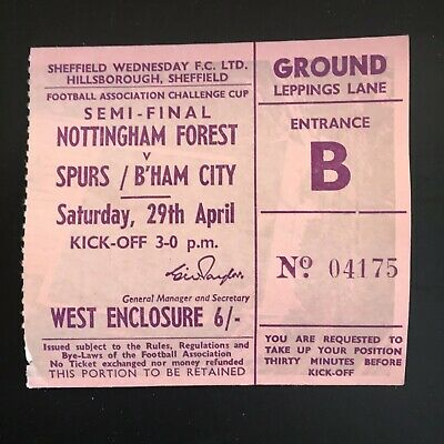 Match Ticket 1967 FA Cup Semi Final Tottenham Hotspur Nottingham Forest Spurs.