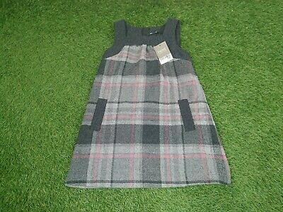 Next Girls Age 5 Years Grey Pink Check Pinafore Style Dress Wool Blend New