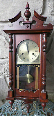 WENTWORTH 31 Day Chiming Wind-Up Wall Clock Key Pendulum Finials Top & Bottom