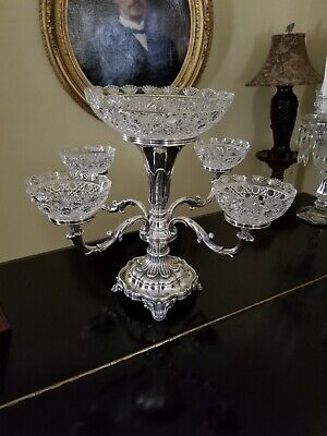 4 Arm Epergne Silver Plate with Cut Glass Bowls