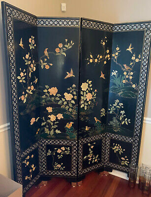 Antique Chinese Black Laquer Screen with Bird & Flower Paradise Scene.