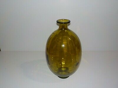 "Large Vintage Green Glass bottle Bulbous Decanter Vase 13 1/4"" Tall"