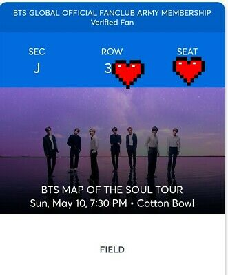 2 BTS tickets Dallas Cotton bowl May 10, 2020 - Section J, row 34, 2 Tickets