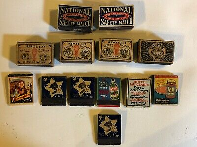 Old Vintage Antique Collectible Mixed Lot Of  13 Match Box Holder Book Covers