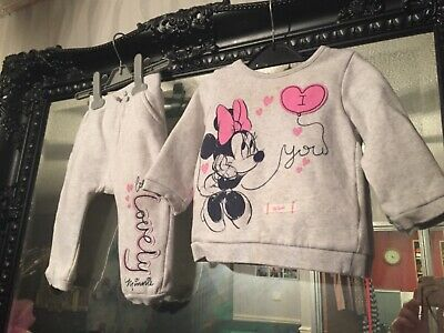 Baby Girls George Grey/Pink Bottoms & Jumper Outfit Age 6-9 Months