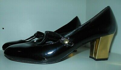 Patent black Office court shoe size 40 with strap & golden heel