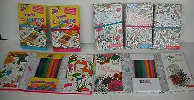 Colour Therapy Adult Kids Colouring Colouring Set,2 Colouring Books &12 Pencils