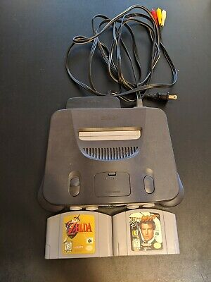 Nintendo 64 Launch Edition Charcoal Grey Console (NTSC) with 007 and Zelda
