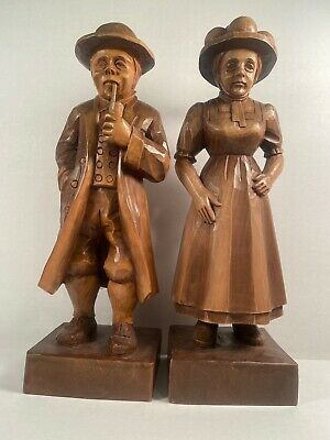 Antique Hand-carved Wooden Figurine Set Man with Pipe Woman Hat Natural Rustic