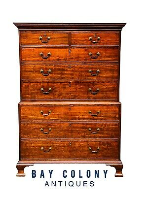 18Th C Antique English George Iii Chippendale Mahogany Chest On Chest / Dresser
