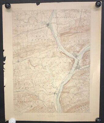 Antique 1893 USGS Topograhic Map SUNBURY Sheet Pennsylvania 1/62,500