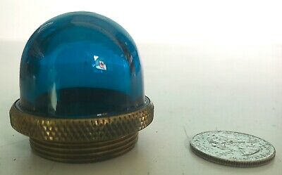7 - BLUE GREEN Glass  and Brass Control Switch Indicator Lens Jewels