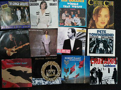 Bundle of 84 Seven Inch 45 RPM vinyl records Mostly Picture sleeves