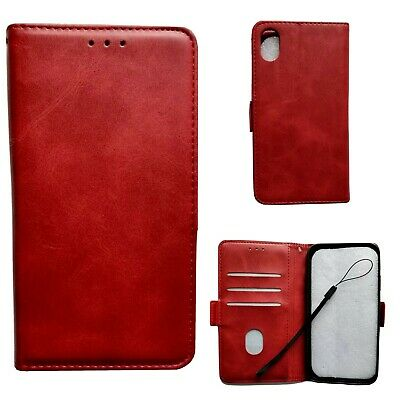 Apple iPhone XR Red Leather Wallet Case With Card Slots And Strap