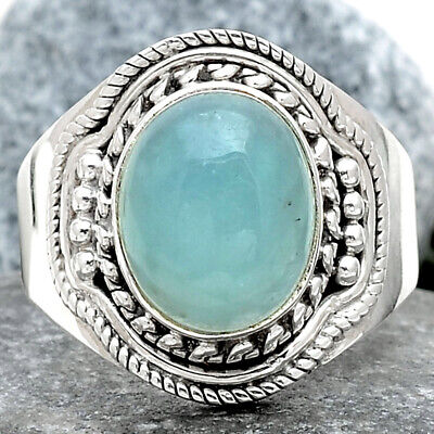 Aquamarine Cab - Brazil 925 Sterling Silver Ring Jewelry s.7.5 SDR69483
