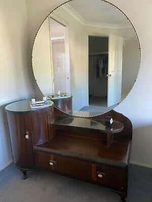 2 piece art deco bedroom furniture -bedhead with shelf and drawers & dresser