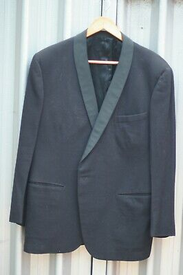 Vintage 1960s mens black pure wool dinner suit tuxedo with shawl collar medium