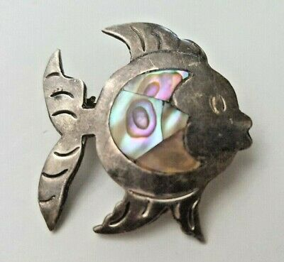 Vintage Mexico 925 Abalone Shell Sterling Silver Fish Pin Brooch Estate Sale