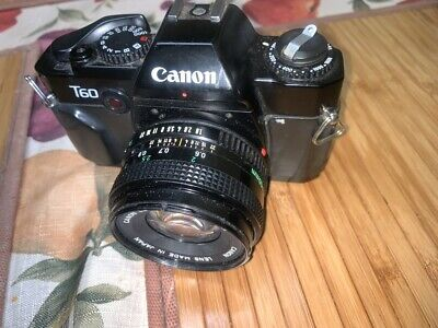 CANON T60 35mm Film Camera w/ Canon FD 50mm lens, UNTESTED---SOLD AS IS