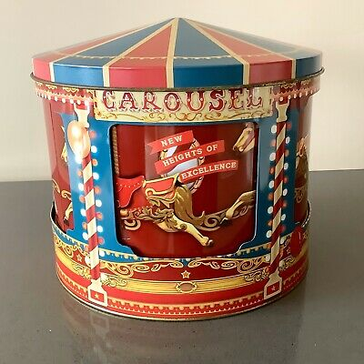 Carousel Biscuit Tin Musical With Inner Rotating Drum Wind Up Domed Lid