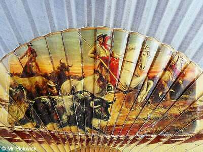Spanish Fan Bodeguero El Caballo Blanco Painted Wood and Cloth