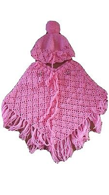 Vintage Girls Poncho And Beanie Size 3-4