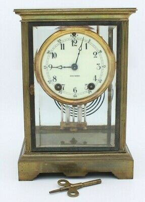 Antique Seth Thomas Empire Clock Beveled Glass & Brass Mantel Chime W/ Key WORKS