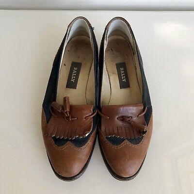 Vintage Bally Fringe Loafers in tan leather and navy suede ladies size 36.5
