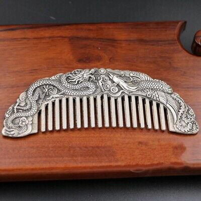 Chinese Old Decoration Collectibles Tibet Silver Carving Dragon Phoenix Comb