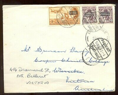 Egypt. Paquebot overprint stamps. to Australia & readdressed from Werribee