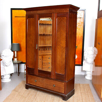 Antique Edwardian Wardrobe Mahogany Mirrored 19th Century Armoire Victorian