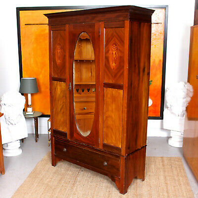 Antique Edwardian Wardrobe Mahogany Mirrored Armoire