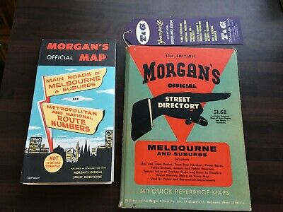 VINTAGE MORGANS OFFICIAL STREET DIRECTORY & SUPPLEMENT MAP 43rd EDITION MELBOURN