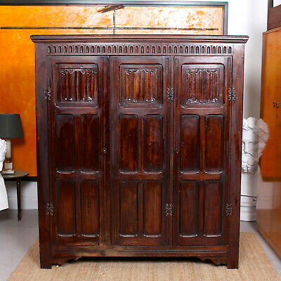 Antique Carved Oak Wardrobe Country Arts Crafts Edwardian Triple