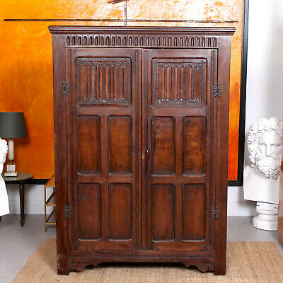 Antique Carved Oak Wardrobe Country Arts Crafts Edwardian Double