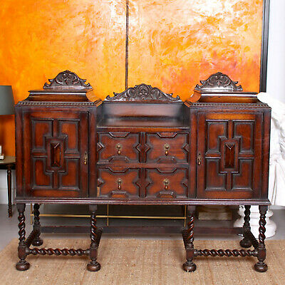 Antique Oak Sideboard Arts Crafts 19th Century Carved Credenza Country