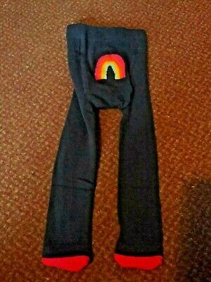 New baby girls Next navy blue tights with a rainbow on the bum 0-3 Months bnwot