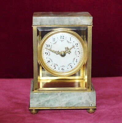 Antique Miniature French Marble Gilt Bronze Four Glass Mantle Clock Working