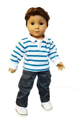 Doll Clothes for 18 inch Boy American Girl Dark Denim Jeans Pants