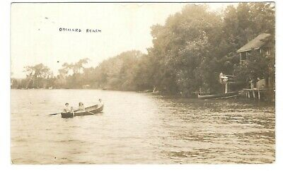 1912 Orchard Beach, Ont. RPPC Real Photo Postcard - Boat Scene Along Waterfront