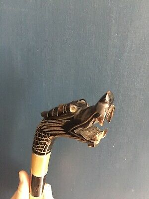 Carved Chinese Walking Stick Dragon Ebony And Other Materials