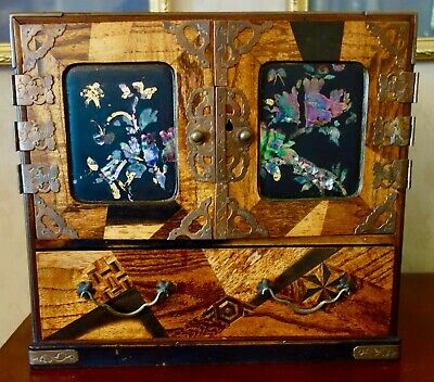Antique Oriental Chinese- Japanese -Jewellery Box -Inlaid -Marquetry