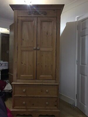 two Matching pine wardrobe with drawers